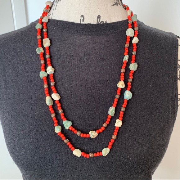 Accessories - Beautiful beaded boho necklace with stone.